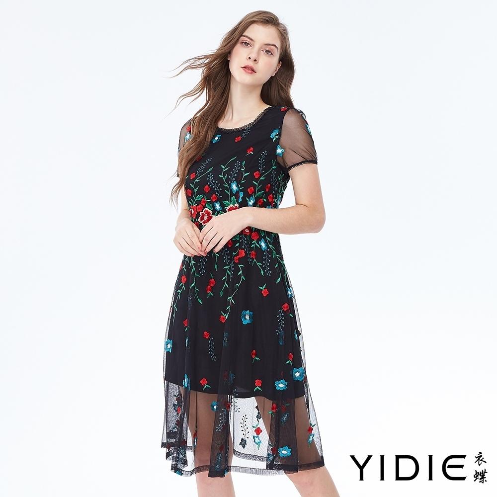 YIDIE衣蝶 立體跳色繡花網紗罩衫短洋裝