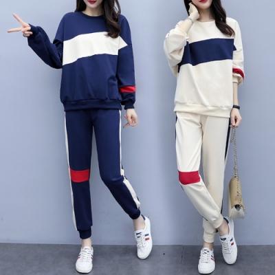 休閒時尚拚色圓領T+運動長褲二件套XL-5XL(共二色)KVOLL