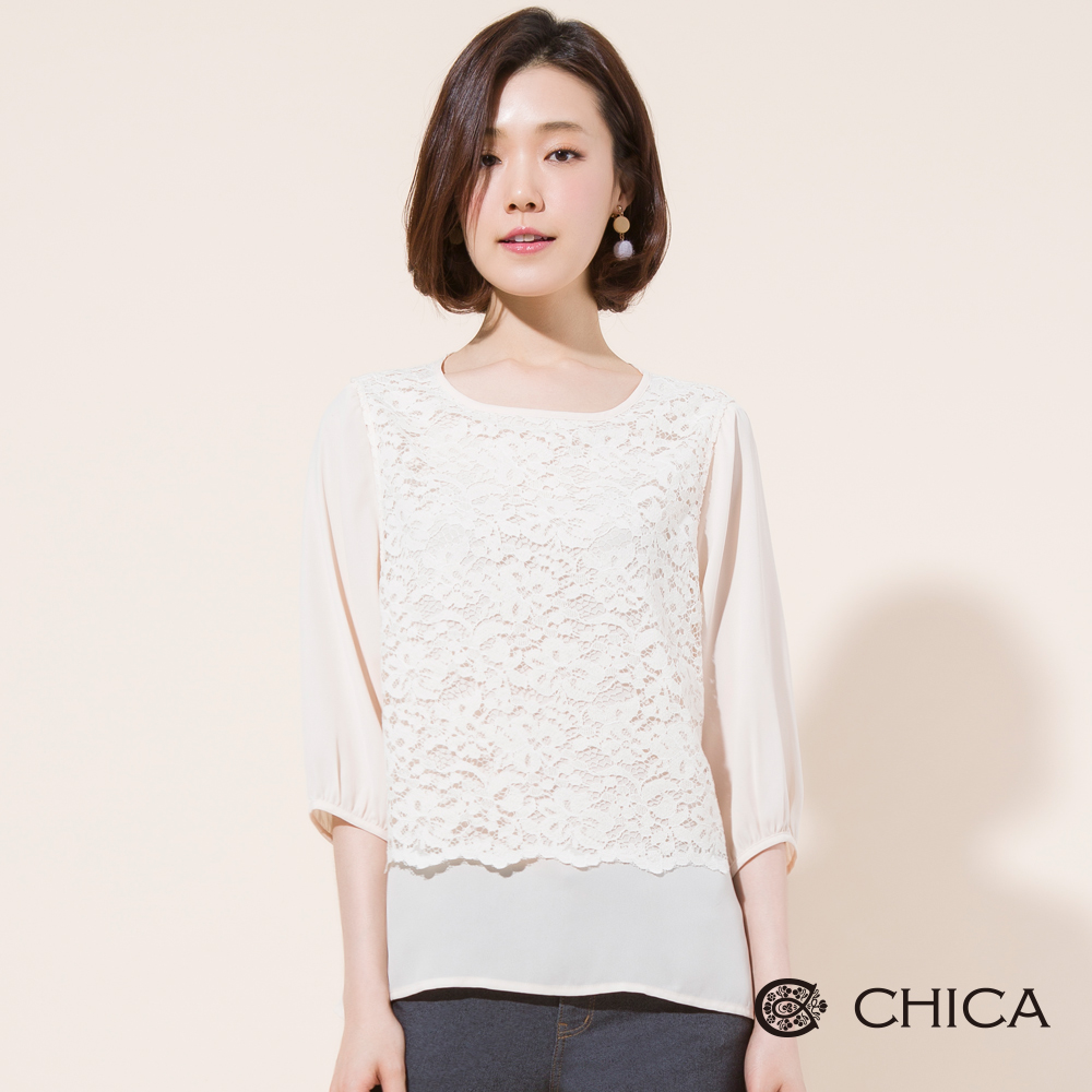 CHICA 漫舞春日拼接蕾絲雪紡上衣(1色)