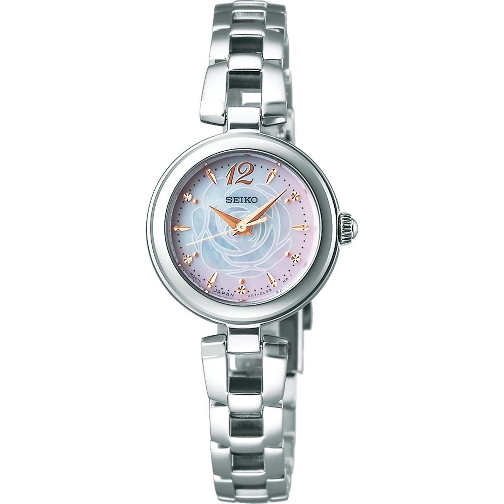SEIKO 精工 VIVACE 粉紅玫瑰珍珠貝限量女錶(SWFA189J)