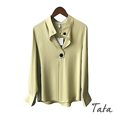 V領裝飾扣長袖上衣 共二色 TATA-(M/L)