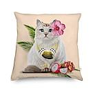 法國數位藝廊 貓貓抱枕/靠墊-熱帶風(淺珊瑚粉)-含芯60x60