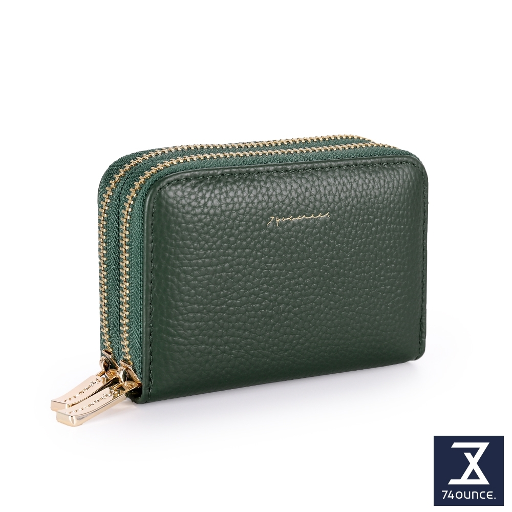 74盎司 Tender Lady 真皮防RFID雙層卡片零錢包[LN-765-TE-W]墨綠