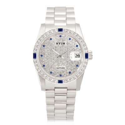 HYUN炫 極致奢華點綴寶石多鑽精品錶-銀
