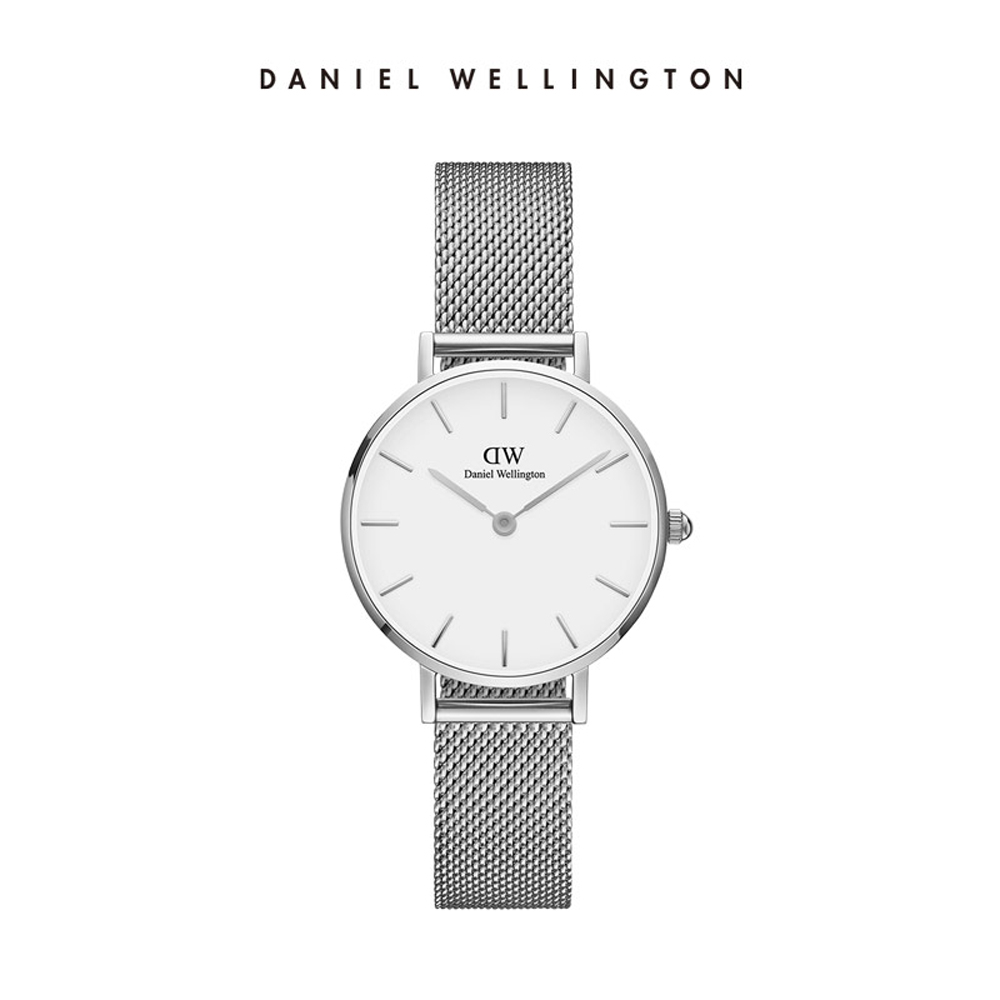 【Daniel Wellington】官方直營 Petite Sterling 28mm星鑽銀米蘭金屬錶 DW手錶