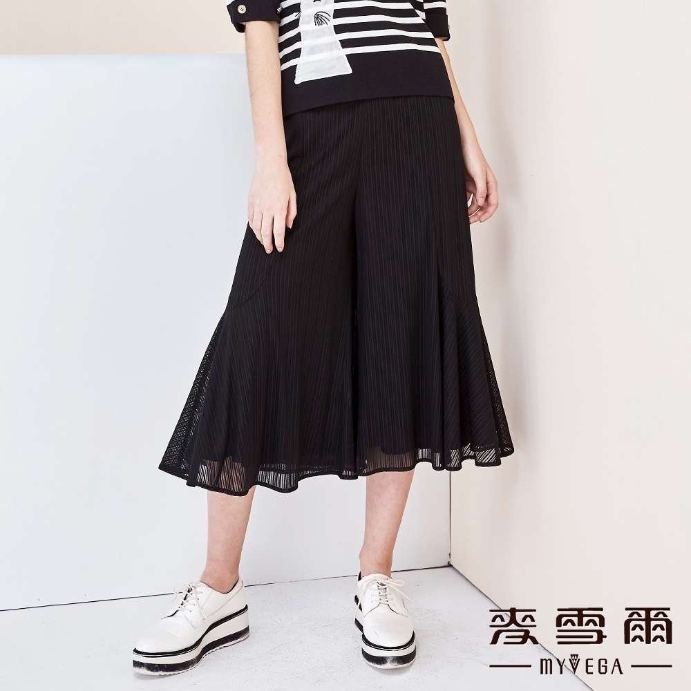 【麥雪爾】直條紋網紗九分褲裙