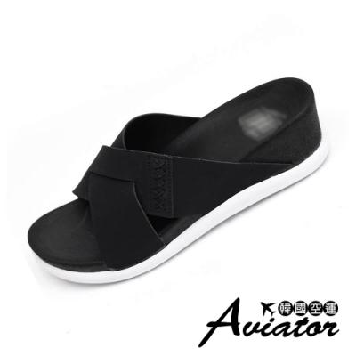 Aviator韓國空運-正韓製時髦純色激瘦款楔型涼鞋-現+預