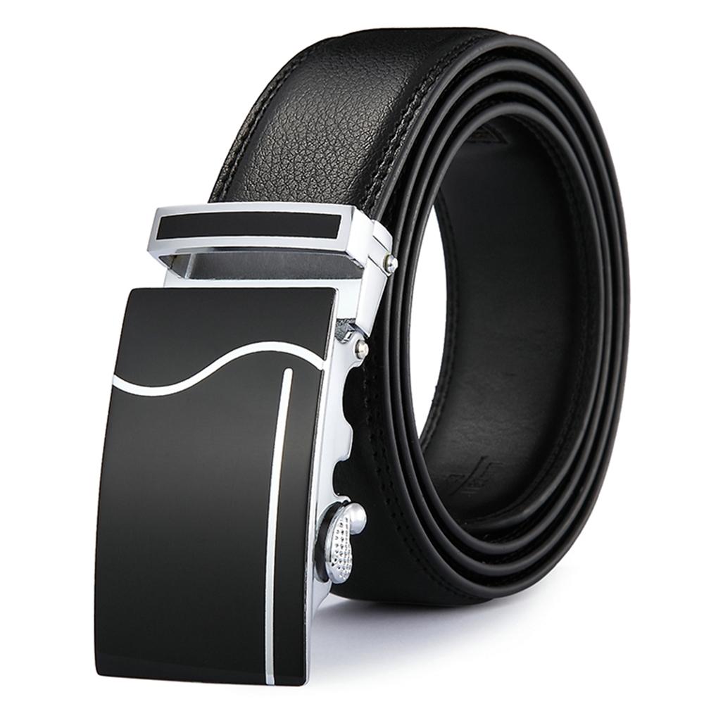 ZK2034BK黑色簡約自動扣牛皮腰帶皮帶黑色 腰圍在22-42吋內適用