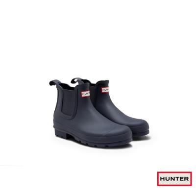 HUNTER - 男鞋-切爾西霧面踝靴 - 海軍藍