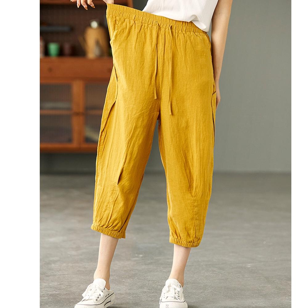 褶皺砂洗亞麻顯瘦哈倫褲子六色可選-設計所在