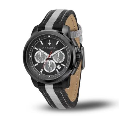 MASERATI 瑪莎拉蒂 ACTIVE POLO三眼日期計時尼龍腕錶45mm(R8871637002)