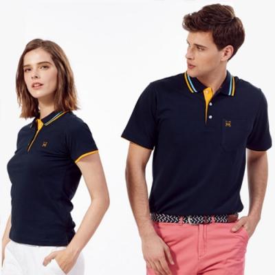 Abel Fox s Sports深藍色橘邊女版短袖POLO衫-AFQ201-14