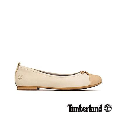 Timberland 女款米色磨砂革撞色芭蕾舞鞋|A1WED