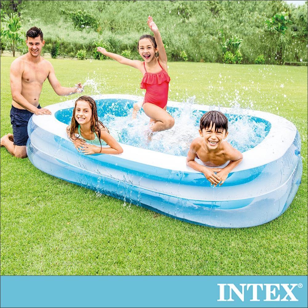 INTEX 長方型藍色透明游泳池262x175X56cm(770L)(56483N)