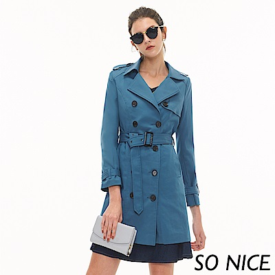 SO NICE都會時尚雙排釦風衣外套
