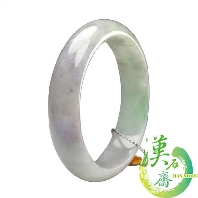 【漢石齋】天然A貨 春帶彩種 翡翠手鐲(手圍18.2/版寬14.5mm)