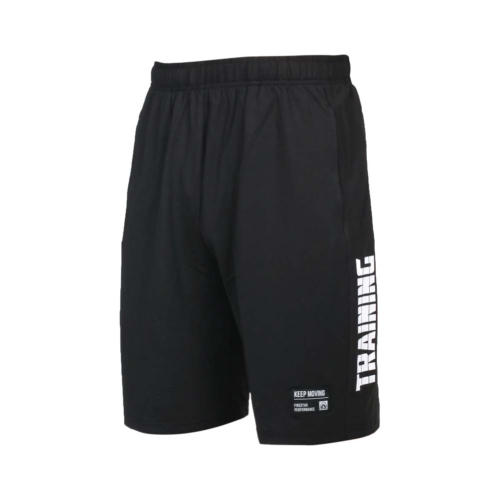 FIRESTAR 男彈性訓練籃球短褲-五分褲 運動 慢跑 路跑 吸濕排汗 針織 B1703-20 黑白