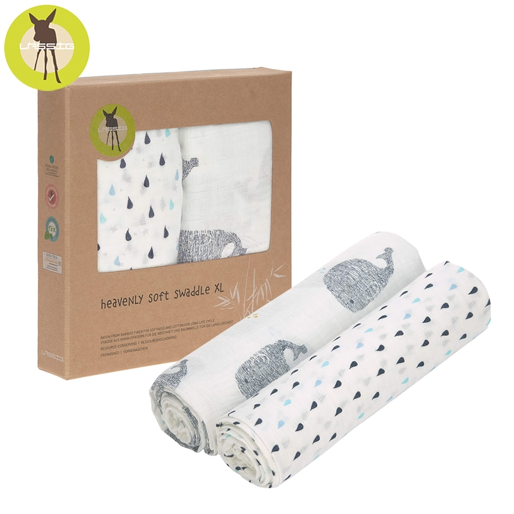 德國Lassig-超柔手感竹纖維嬰兒包巾毯2入(加大版)