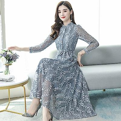 DABI 韓國風氣質顯瘦蕾絲雪紡長裙長袖洋裝