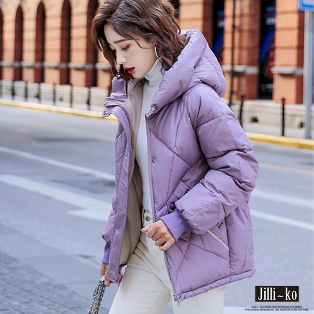 JILLI-KO 羽絨棉斜格保暖防風連帽外套- 淺紫/淺綠