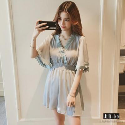 JILLI-KO 蕾絲V領高縮腰連身裙- 黑/淺藍