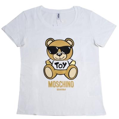 MOSCHINO 金色TOY小熊 LOGO圖騰100%棉質T恤(白)
