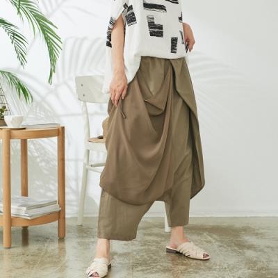 慢 生活 設計師網紗綁帶造型寬口褲- 卡其