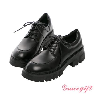 Grace gift-輕量厚底綁帶牛津鞋 黑