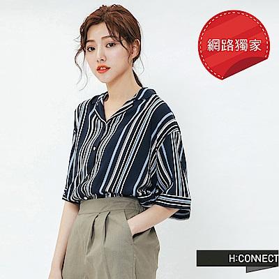 H:CONNECT 韓國品牌 女裝-率性條紋短袖襯衫-藍