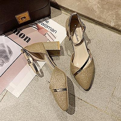 KEITH-WILL時尚鞋館 輕熟舒心一字扣粗跟鞋-金色