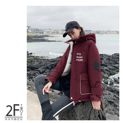 2F韓衣-韓系短款字母口袋防風鋪棉外套-秒