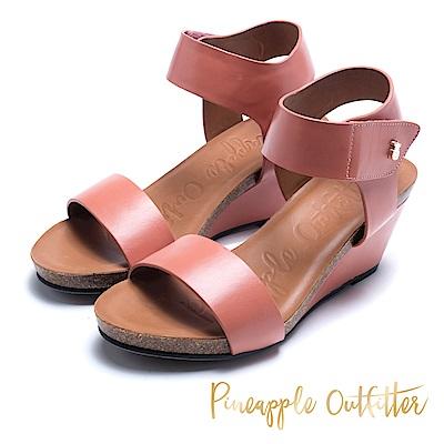 Pineapple Outfitter 知性美型 真皮寬版增高楔形鞋-粉色