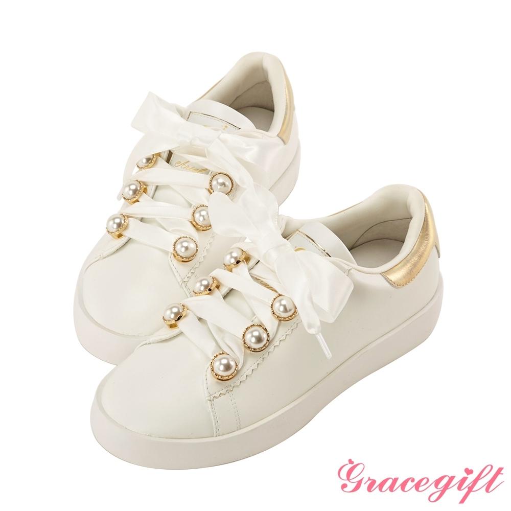 Disney collection by gracegift小美人魚珍珠緞帶休閒鞋 金