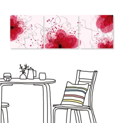 [全新展示品] 24mama掛畫 三聯式無框畫-花卉流線 50x50cm