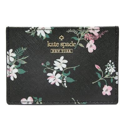Kate spade Flora  印花防刮牛皮證件/名片夾-黑底印花