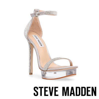 STEVE MADDEN-CELEBRITY 時尚透明前台繞踝細帶高跟涼鞋-銀色
