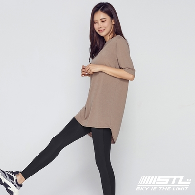 STL yoga 韓國瑜珈 FINE modal Round Long Tee 運動機能 前長後短長版蓋臀長T上衣 奶油咖啡棕ESPRESSO