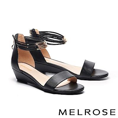 涼鞋 MELROSE 金屬個性壓紋牛皮一字繫帶楔型高跟涼鞋-黑