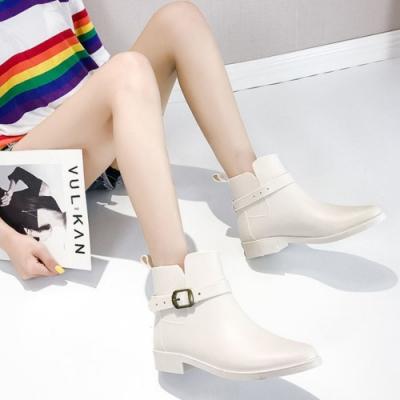 LN 現+預 韓版金屬扣低筒尖頭雨靴-4色