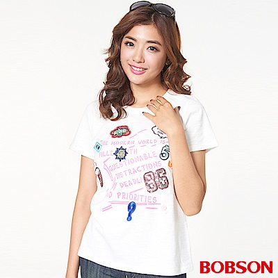 BOBSON 女款貼繡圖案上衣