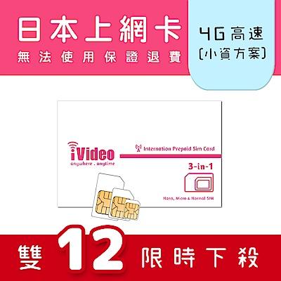iVideo日本上網卡 SIM卡 7天 吃到飽 【小資方案】