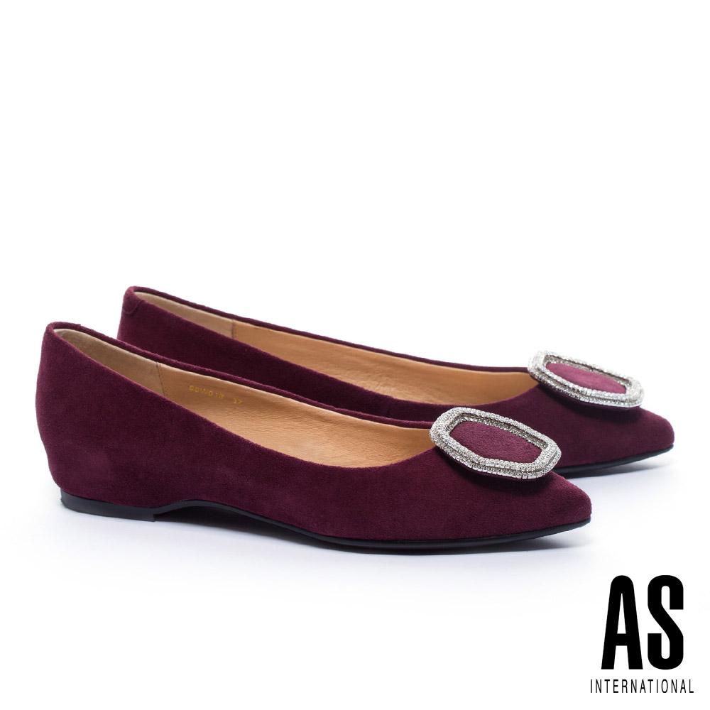 低跟鞋 AS 典雅氣質六角金屬鑽飾羊麂皮尖頭低跟鞋-紅