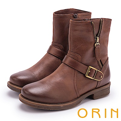 ORIN 個性街頭帥氣 復古蠟染率性拉鍊飾釦短靴-咖啡