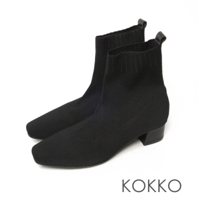 KOKKO激瘦感方頭素面針織彈性粗跟襪靴霧面黑