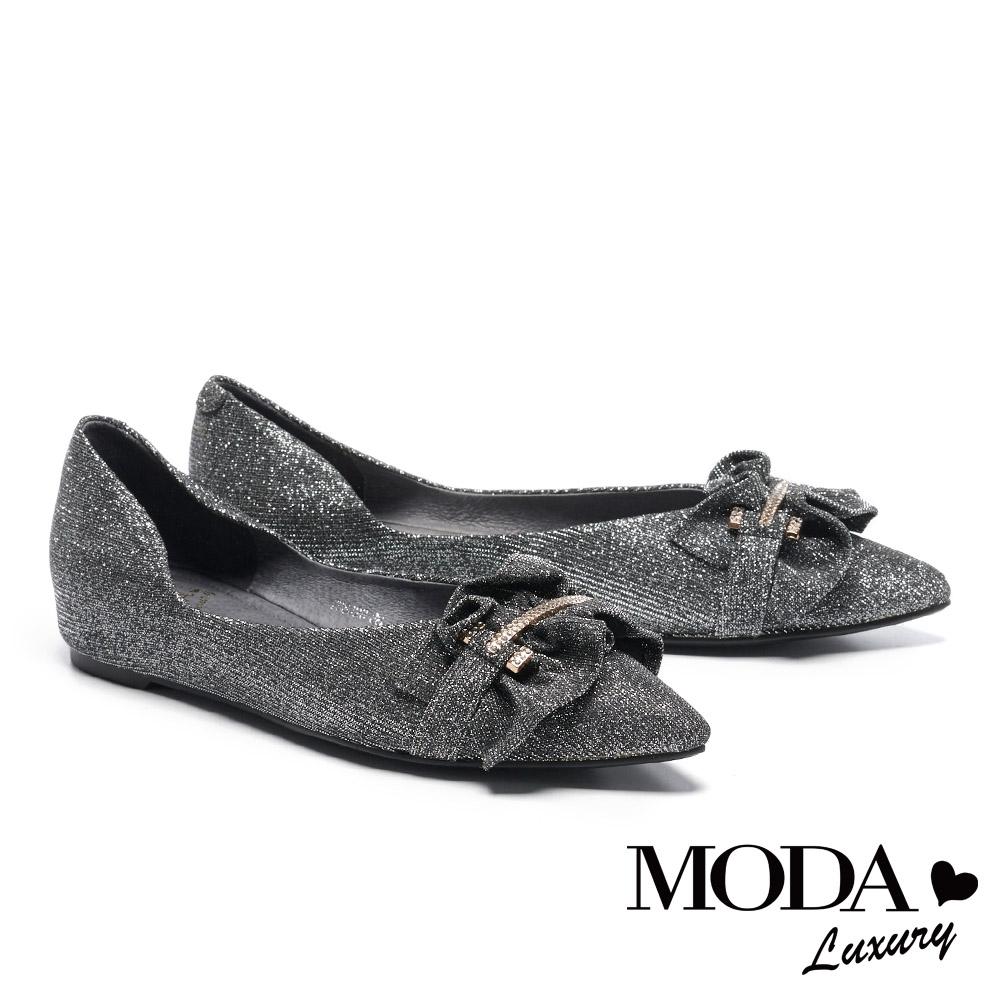 平底鞋 MODA Luxury 極致奢美金屬飾釦全真皮尖頭平底鞋-銀