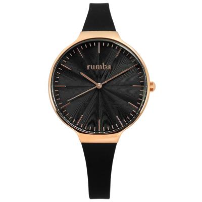 rumba time Orchard Wave 紐約品牌 矽膠手錶-黑x玫瑰金框/37mm