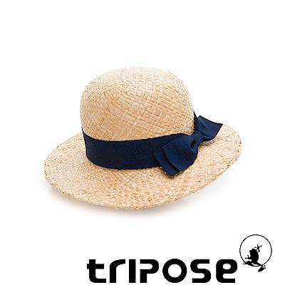 tripose 都會清新-100% Raffia入門款圓頂寬飾帶草帽(飾帶-深藍)