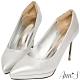 Ann'S燈光焦點-質感磨砂電鍍鞋跟防水台尖頭高跟鞋-銀 product thumbnail 1