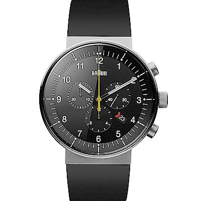 BRAUN德國百靈 經典三眼錶 日期窗不鏽鋼錶 -黑色/43mm