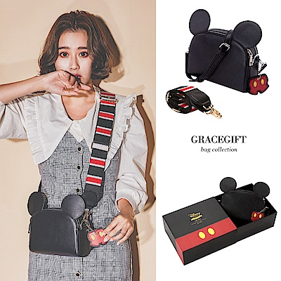 Disney collection by Grace gift米奇雙背帶吊飾側背包